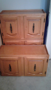 3 solid pine kitchen cupboards