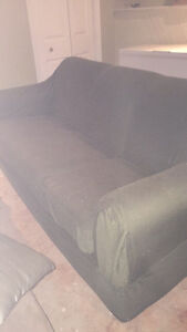 three seat couch with green couch cover Belleville Belleville Area image 1