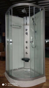 (NEW) SHOWER STALL WITH MASSAGE JETS AND SHOWER HANDLE-glass/alu