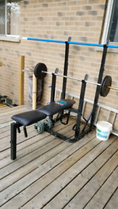 York 9500 bench press with squat rack