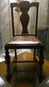 Solid wood antique dining chair with brown leather seat Kitchener / Waterloo Kitchener Area image 1