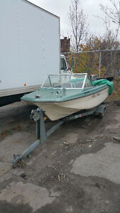 14 Foot Fiber Glass Boat 65 Mercury