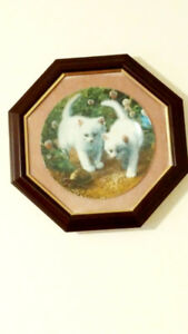 Vintage Amy Brackenbury Cat Tale Collection Framed Plates