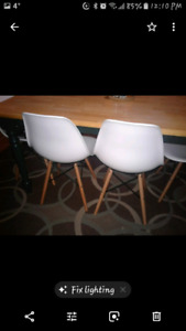4 x white modern kitchen chairs with wood legs