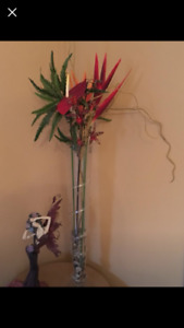 TALL GLASS VASE WITH EXOTIC FLOWERS