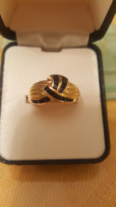 Ladies Special Occasion Dark Blue Sapphire Gold Ring