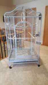 LARGE GREY POWDER PARROT CAGE -- LIKE NEW
