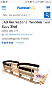 Brand New Twin Wooden Baby Sleigh