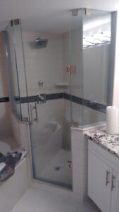 Frameless glass showers and mirrors