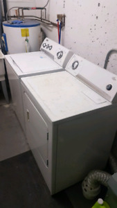 Whirlpool washer and dryer - white fullsize top load