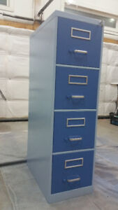 Refinished Blue 4 Drawer Vertical File Cabinet (With Keys!)
