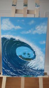 Toile peinte à la main de SylAr - Vague de surf