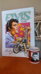 "Elvis Presley Metal Sign and ""the Original"" Coffee Cup"