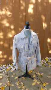 Women's Orig. 1960's Blue leather belted coat/top Small fit