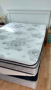 White head board and queen mattress set