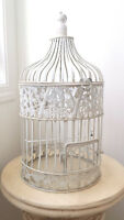 White Wedding Birdcage, Gold Chair Sashes & Table Runners