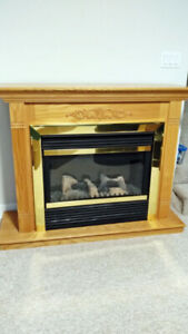 Pyromaster # HEF33 Insert with Prefinished oak mantel cabinet