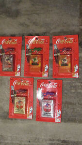 "Lot of 5 1 3/4""x2 1/2"" Coca-Cola Playing Cards w / Keychains"