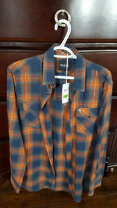 Brand New with Tags Mens Size Large Guess Plaid Dress Shirt