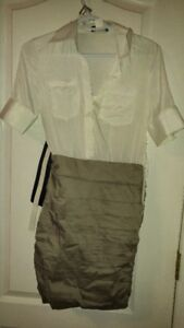 White & Beige Belted Dress *NEW