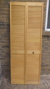 Big Full-louvered Unfinished Solid Core Pine Bi-fold Door