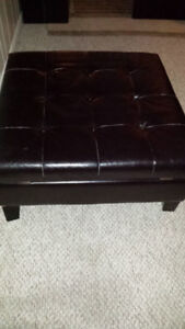 FAUX LEATHER ESPRESSO OTTOMAN WITH STORAGE - SOLD PPU
