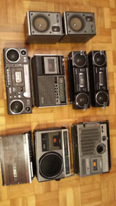 Set of 8 boomboxes AIWA, SANYO, JVC for $100
