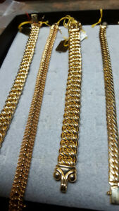 CHAINS, BRACELETS, RINGS, PENDENTS, GOLD FILLED JEWELLRY.