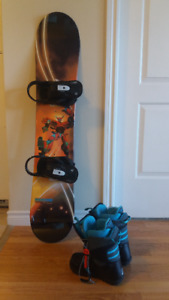 Boy's snowboard and boots