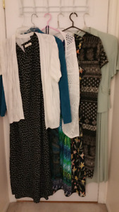 Assorted ladies tops, bottoms, jackets and dresses