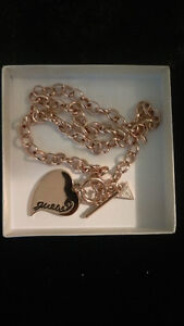 Guess rose gold chain necklace with heart
