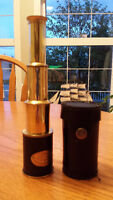 "SHINY BRASS NAUTICAL 8"" - BRASS TELESCOPE WITH LEATHER SLEEVE"
