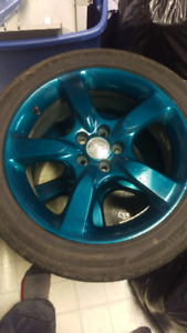 "17"" Subaru powder coated alloys"
