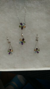 Sterling Silver Multi-gem Necklace and Earring Set