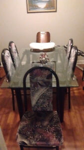 Beveled glass table 4 chairs