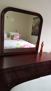 dresser, night stand , bed