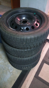 4X100 Steelies with snow tires 195/55/16