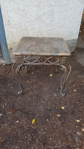Faux Marble Top Coffee End Table with Cast Iron Metal Legs
