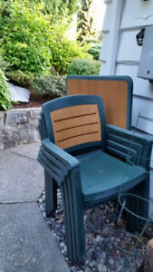 4 chairs and a table for deck
