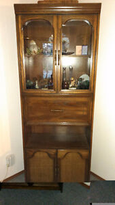 3 Pc. Oak China Cabinets Set (2 with lighted display)