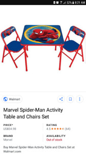 Kids Spider-Man table and 2 chairs