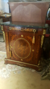French Louis XVI Carved Chest with Marble Top