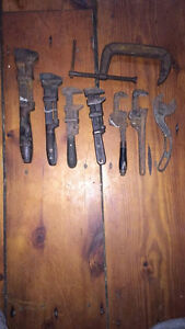 Antique tools, wrenches, saws, etc