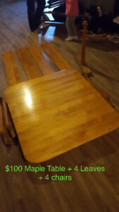 Maple table + 4 chairs + 4 leaves
