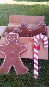 wooden gingerbread men and candy canes
