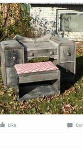 Vintage make up vanity with mirror and bench