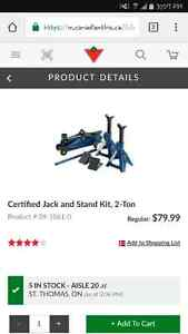 Certified jack and stand kit...2 ton ....mastercraft new