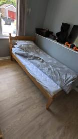 Solid Pine Single Bed Frame & Memory Foam Mattress, Duvet,Pillow Cover