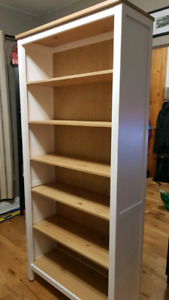 Hemnes Bookcase, white stain, light brown shelves
