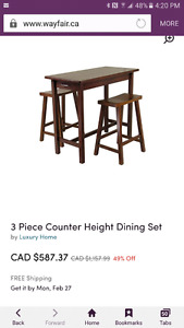 3 piece table  pub style perfect for small kitchen or apartment